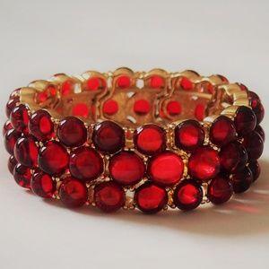 Glamorous Signed Red Cabochon Statement Bracelet